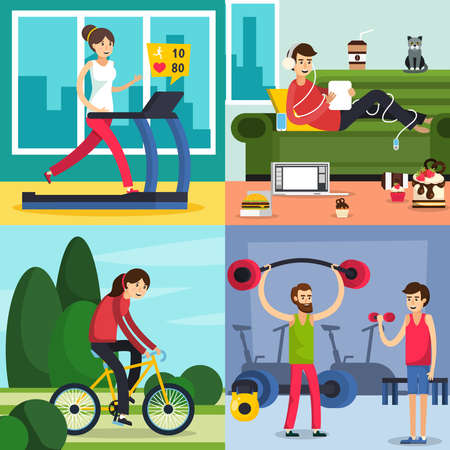 Four square colored fitness training people orthogonal icon set with different type of training or laziness vector illustration