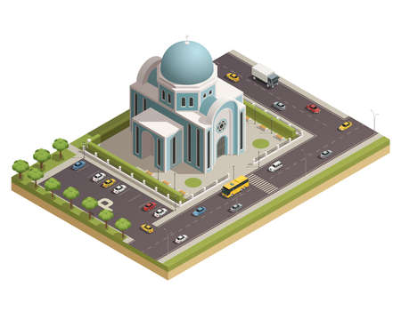 Classic religious worship and spiritual rituals temple building with parking lot surrounded with busy roads isometric vector illustration
