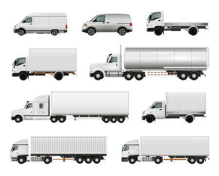Set of realistic white cargo vehicles including heavy trucks with various trailers, lorries, vans isolated vector illustration Vector Illustration