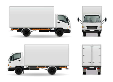 Lorry with blank surface realistic advertising mockup side view, front and rear on white background vector illustration Vector Illustratie