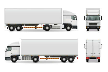 Realistic heavy truck with white cab and trailer, side view front and rear advertising mockup vector illustration
