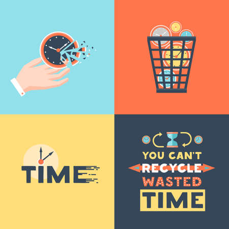 Wasted time concept 4 flat icons square with useless activities trash basket and clock symbols vector illustration Ilustração Vetorial