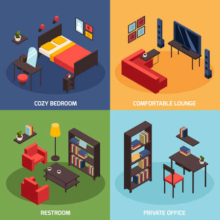 Living room concept icons set with comfortable lounge symbols isometric isolated vector illustration
