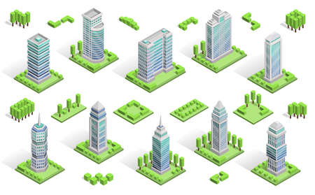 City houses isometric composition with skyscrapers isolated vector illustration