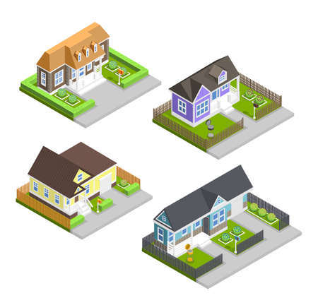 Town houses isometric composition with gardens and lawn isolated vector illustration