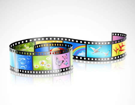 Curved film strip with reflection and colorful images of summer nature on white background isolated vector illustration