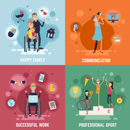 Disabled people concept icons set with communication symbols flat isolated vector illustration