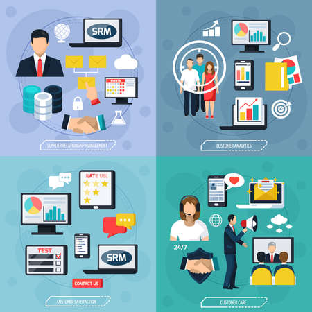CRM flat design concept with supplier relationship management analysis care and satisfaction of customer isolated vector illustration Ilustración de vector