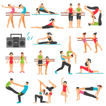 Dance training decorative icons set with girls in various poses stretching acrobatics music system isolated vector illustration