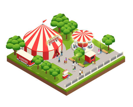 Amusement park isometric composition with carousel circus tent ticket cashier kiosk and people with kids vector illustration Vektorgrafik