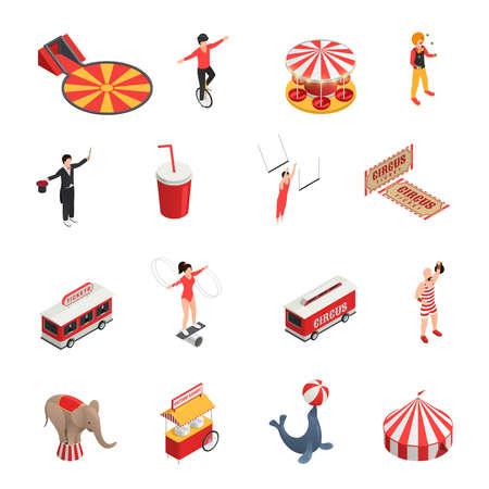 Circus isometric set of manege juggler clown acrobat trained animals tickets cola carousel decorative icons isolated vector illustration Vektorgrafik
