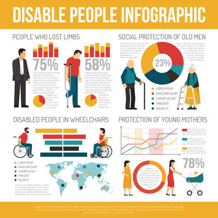 Disabled people infographic set with social protection symbols flat vector illustration Ilustracje wektorowe