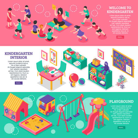 Kindergarten isometric horizontal banners with elements of interior and playground and teacher working with children educational games vector illustration