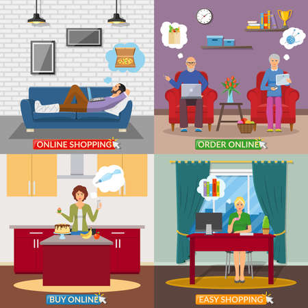 Online shopping 2x2 design concept with people in home interior making online payment flat vector illustration Vecteurs