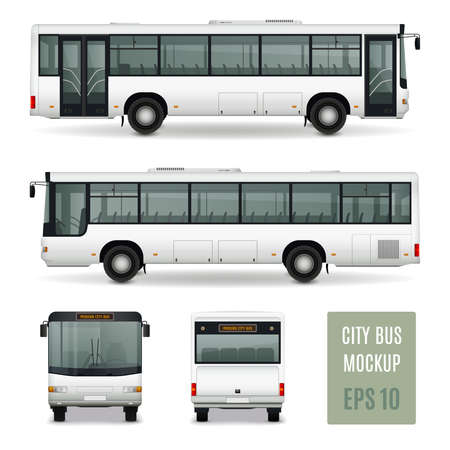 Modern city bus realistic advertising template side view front and rear on white background isolated vector illustration Vector Illustratie
