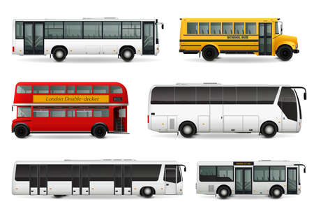 Realistic set with school bus modern urban and touristic transport london double decker vehicle isolated vector illustration Ilustración de vector