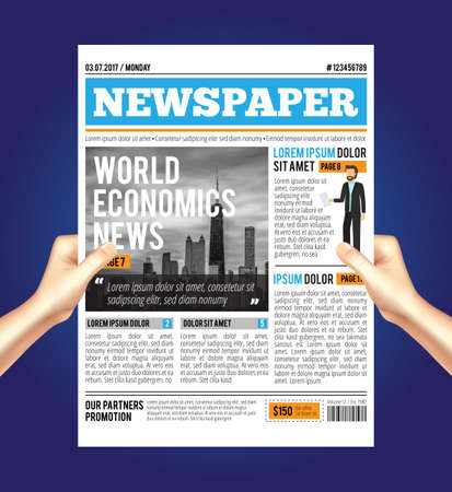 Man reading a newspaper composition with human hands holding economic journal with text paragraphs available for editing vector illustration