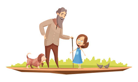 Old man senior character with cane walking with little girl and doggy outside retro cartoon poster vector illustration