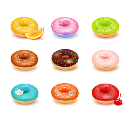 Sweet colorful donuts with various toppings and fresh fruit assortment set isolated on white background realistic vector illustration