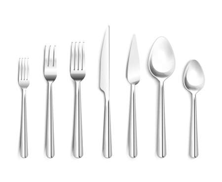 Realistic shiny silverware top view 3d design with forks knives spoons on white background isolated vector illustration Ilustracje wektorowe
