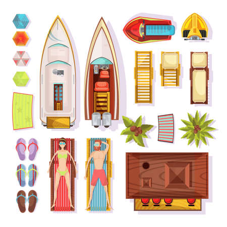 Beach elements top view including people on sunbeds slippers parasols boats water motorbikes bar isolated vector illustration