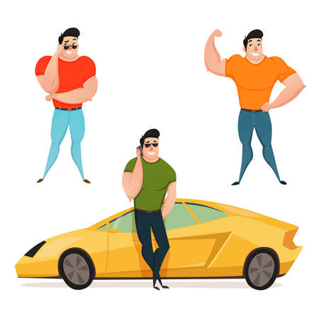 Flat design composition with three brutal brunet macho showing large muscles flat cartoon vector illustration