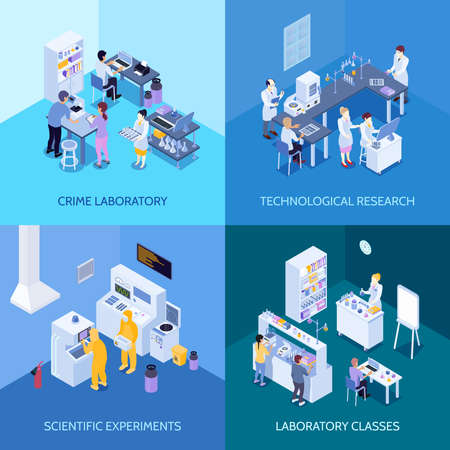 Crime laboratory, chemical practice classes, scientific experiments and technological research isometric design concept isolated vector illustration