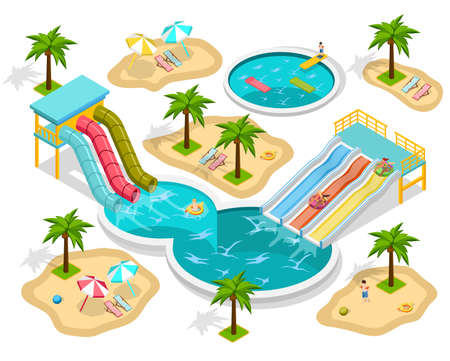 Isometric aqua park composition at the beach with entertainments and three pools vector illustration Vektorové ilustrace