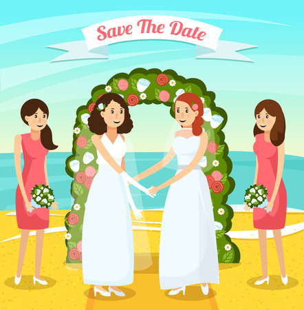 Colored and flat wedding people orthogonal composition with two women get married vector illustration