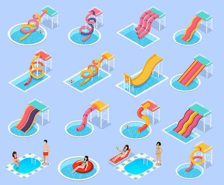 Colored water park aquapark isometric icon set with different types of waterslides and Jacuzzi and swimming pools vector illustration