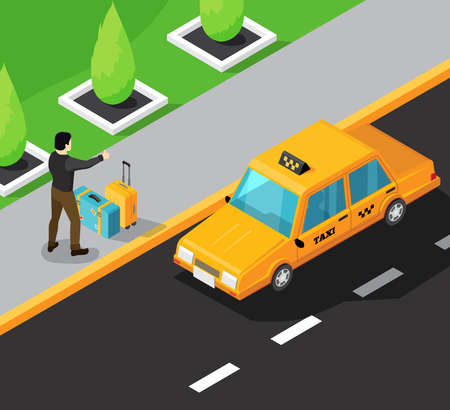 Taxi service isometric background with passenger on sidewalk stopping yellow taxi car moving on road vector illustration Vetores