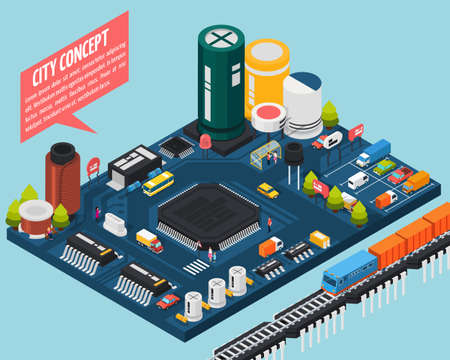Colored technology semiconductor electronic components isometric city concept with city concept description vector illustration Vektorgrafik