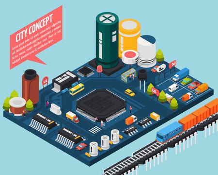 Colored technology semiconductor electronic components isometric city concept with city concept description vector illustration Ilustração Vetorial