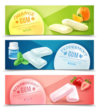 Collection of realistic gum horizontal banners with pieces of bubblegum and images of taste origin vector illustration