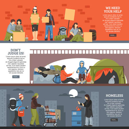 Three horizontal homeless people horizontal banner set we need your help dont judge us and homeless descriptions vector illustration