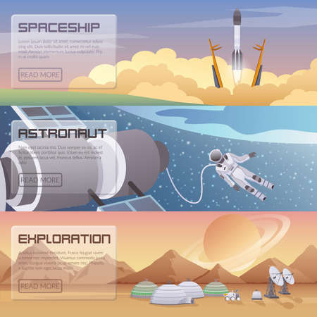 Space discovery horizontal banners with spaceship start astronaut spacewalk and space exploration decorative compositions flat vector illustration Vector Illustratie