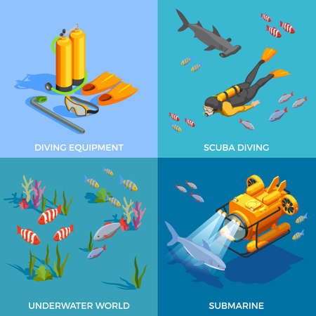Scuba diving snorkelling isometric design concept with four compositions of submarine diving equipment and fishes images vector illustration