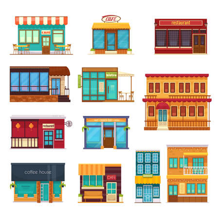 Street view front snack bar cafe coffee house bistro restaurant flat icons collection isolated vector illustration Vecteurs