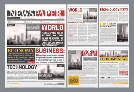 Newspaper pages template design with world breaking news economy technology and business headlines realistic vector illustration