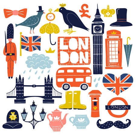 Set of london landmarks with tower bridge, big ben, ravens, double decker bus, guard isolated vector illustration
