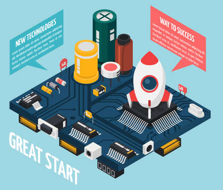 Colored semiconductor electronic components isometric rocket launch pad concept with great start way to success and new technologies descriptions vector illustration