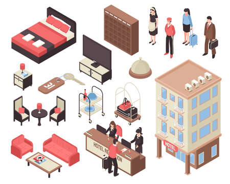 Isometric set with hotel building furniture staff visitors and reception isolated on white background 3d vector illustration Vector Illustration