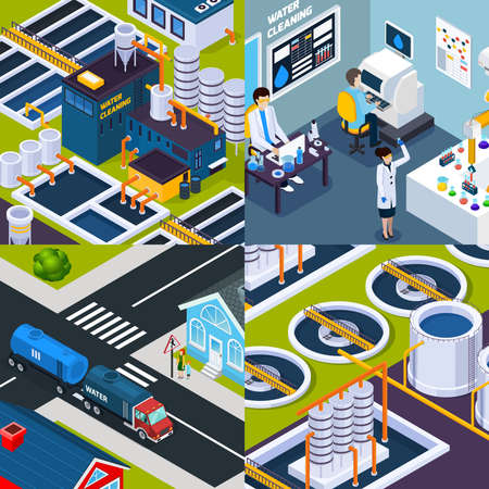 Water cleaning isometric concept with facilities of purification plant, laboratory research, truck with tank isolated vector illustration