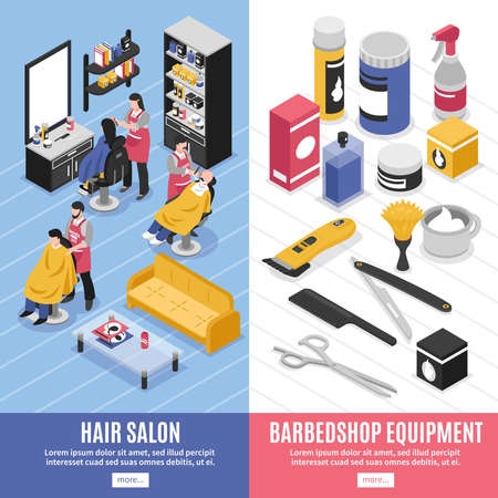 Salon equipment and hairdressers working at barbershop vertical banners 3d isolated vector illustration