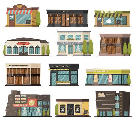 Shops orthogonal icons set with wedding and flower shop symbols isolated vector illustration