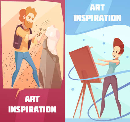 Art inspiration 2 vertical retro cartoon banners set with carving sculptor and painting artist isolated vector illustration