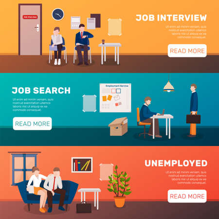 Unemployed people three flat banners set with image compositions editable text title and read more button vector illustration Ilustração Vetorial