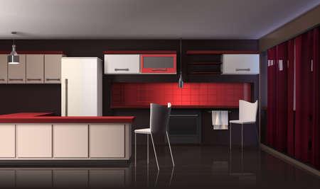 Modern kitchen interior realistic design composition with black red and white shelves fridge with designer furniture vector illustration