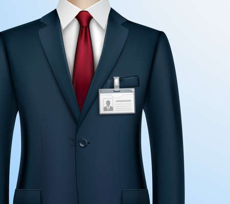 Formally dressed in classic suit businessman with id badge holder on strap clip realistic closeup image vector illustration