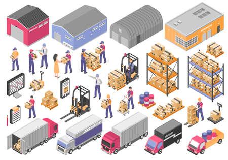 Logistics isometric icons set with cargo symbols isolated vector illustration Vektoros illusztráció